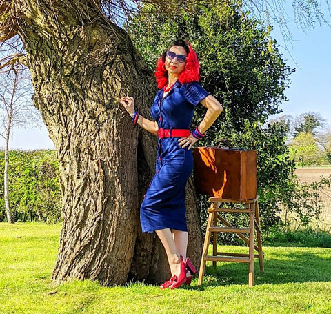 La Petite Pinup models the Collectif Maura denim pencil 1950s dress