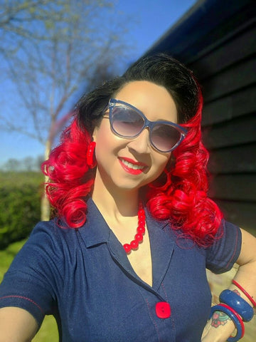 La Petite Pinup wearing a denim Collectif Maura 1950s dress