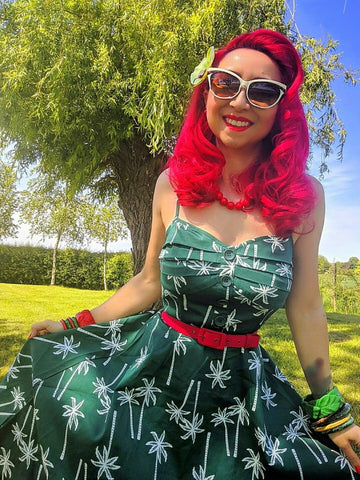 La Petite Pinup in Collectif's Green Palm Fairy Dress