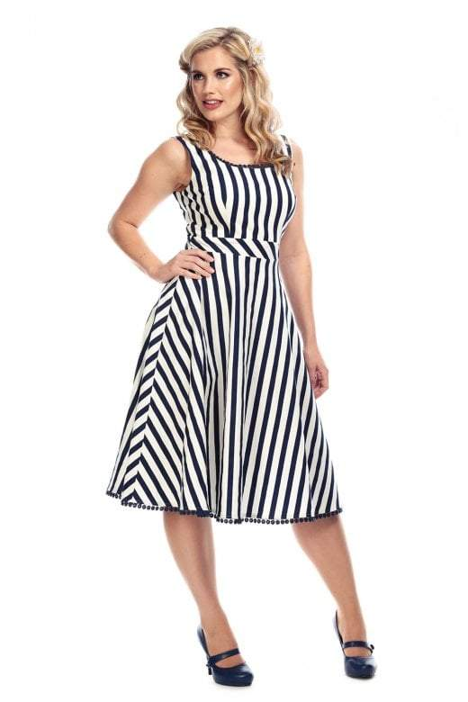 Collectif Vintage Lucille Striped 1950s Dress - I love the 50s