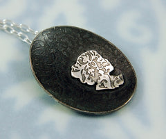 Cameo pendant on chain - Handmade Jewelry by Simone Walsh - indie design, metalwork, contemporary craft