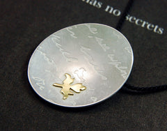 Victorian etched pendant - handwriting :  necklace gold pendant metalwork