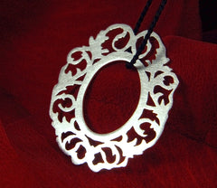 Picture frame pendant - oval - Handmade Jewelry :  necklace pendant metalwork contemporary craft