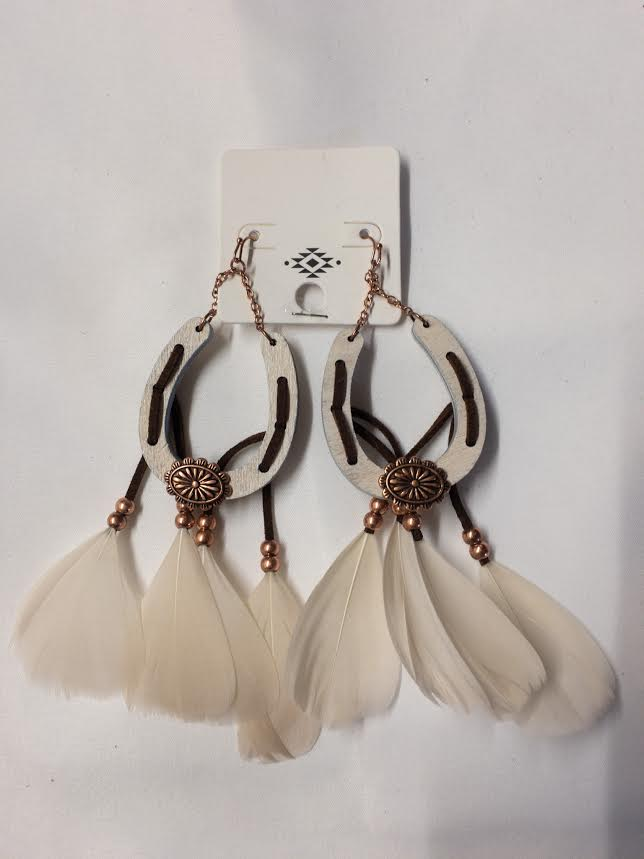 Wooden Horse Shoe and Feather Earings