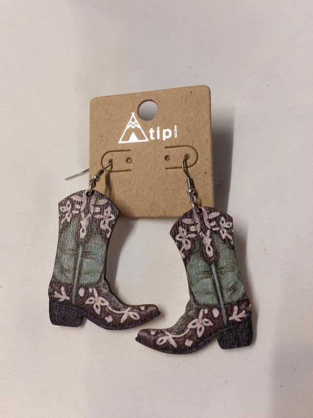 Decorated Wooden Boot Earrings