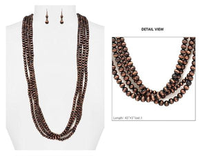 Bronze Colored Long Layered Necklace and Earrings