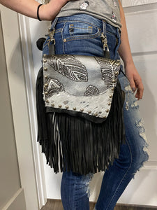Acid Wash Silver Feather Hip Bag