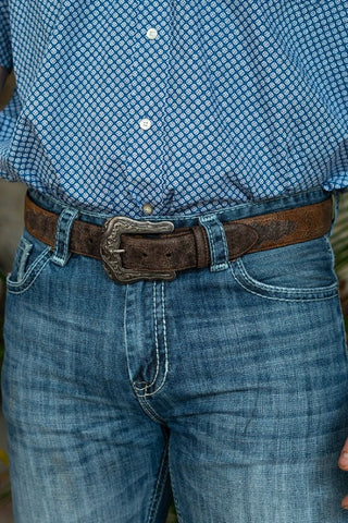 L&B Men's Tooled Brown Western Belt