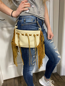 Creme Cowhide Side & Sassy Fringe Hip Bag