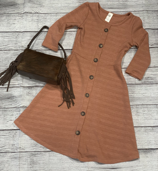 Girls 3/4 Sleeve Faux Button Aline Dress