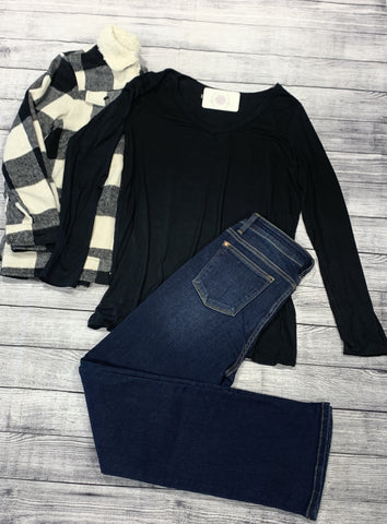 Black Long Sleeve Boat Neck Top