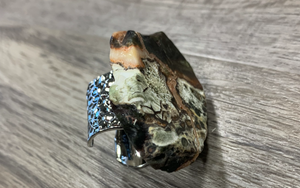 Jewelry Junkie Brown Ocean Agate Cuff Ring