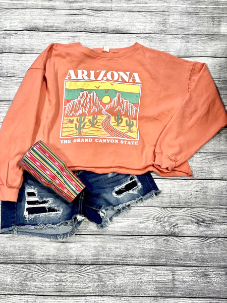 Mineral Washed Cropped Sweatshirt- Grand Canyon State