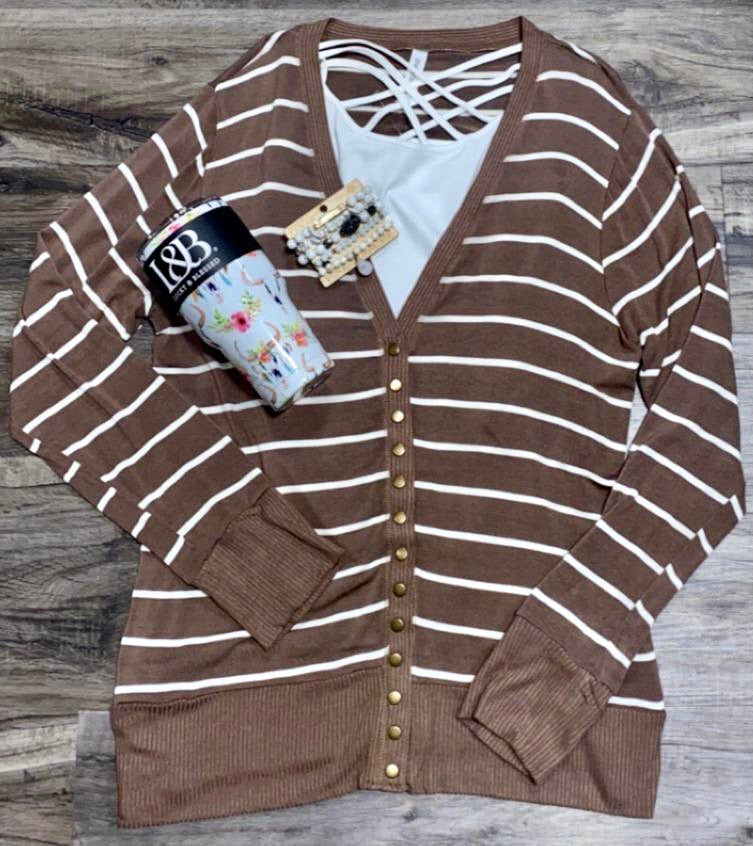 Taupe Striped Snap Closure Cardigan