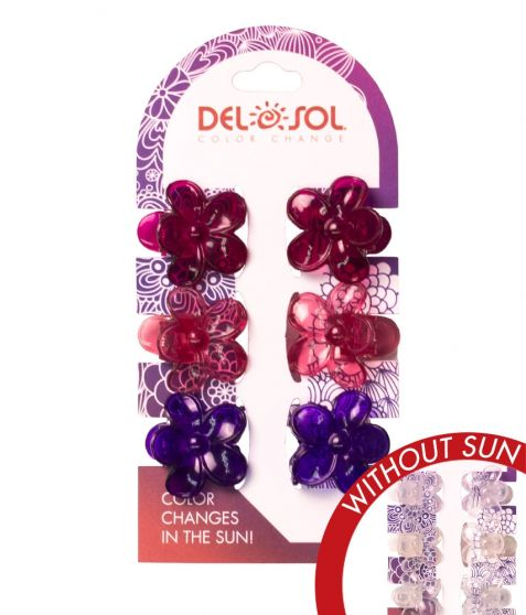 Del Sol Color Changing Hair Clips Flowers
