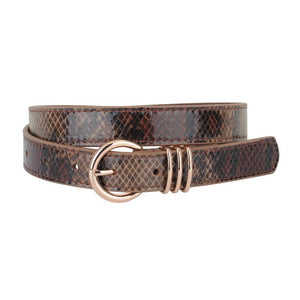 Skinny Snake Brown Print Leather Belt