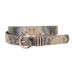 Skinny Snake Gray Print Leather Belt