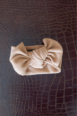 L&B Tan Big Bow Baby Headband