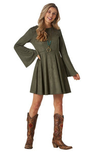 Women's Wrangler Retro® Bell Sleeve Empire Waist Faux Suede Dress