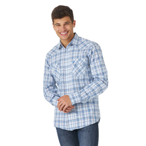 Wrangler Retro Men's Sawtooth Snap Western Shirt-Light Blue & White