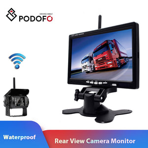 Wireless 7 Inch HD Vehicle Rear View Monitor For Truck RV Trailer( with Backup Camera Parking System)