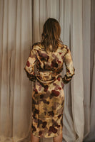 Women's Silk Long Sleeve Shirt Dress  - Abstract Camo