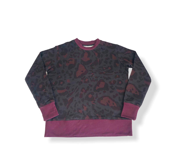Crew Neck Terry Sweater-Cheetah Camo