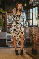 Women's Silk Long Sleeve Shirt Dress  -Floral