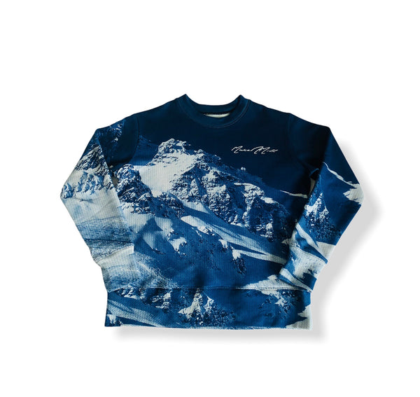 Men's Crew Neck Terry Sweater - Snowy Mountain