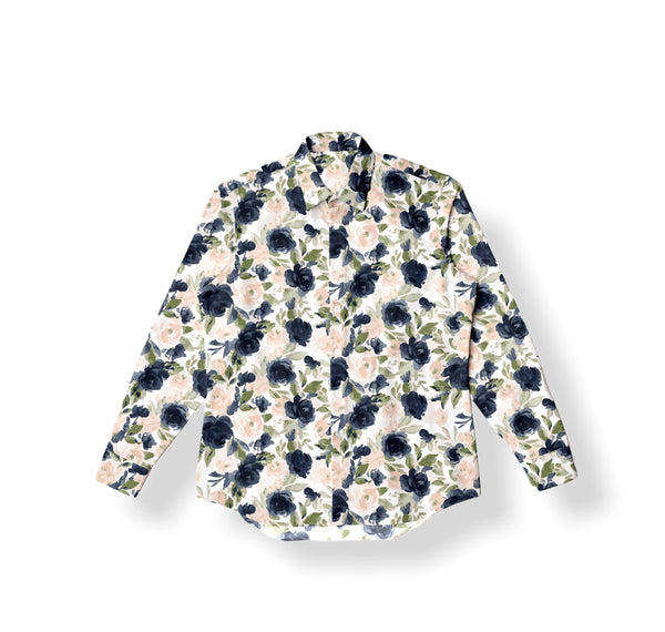 Men's Button Flannel-Floral