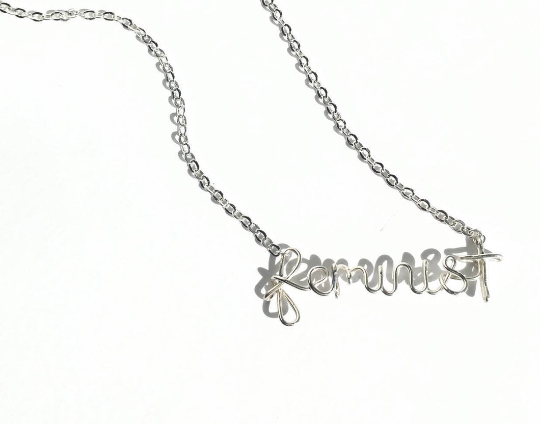 Hand bent FEMINIST necklace