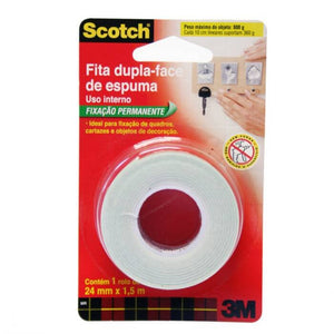 Fita dupla face de espuma c/ 24mm x 1,5m Scotch 3m