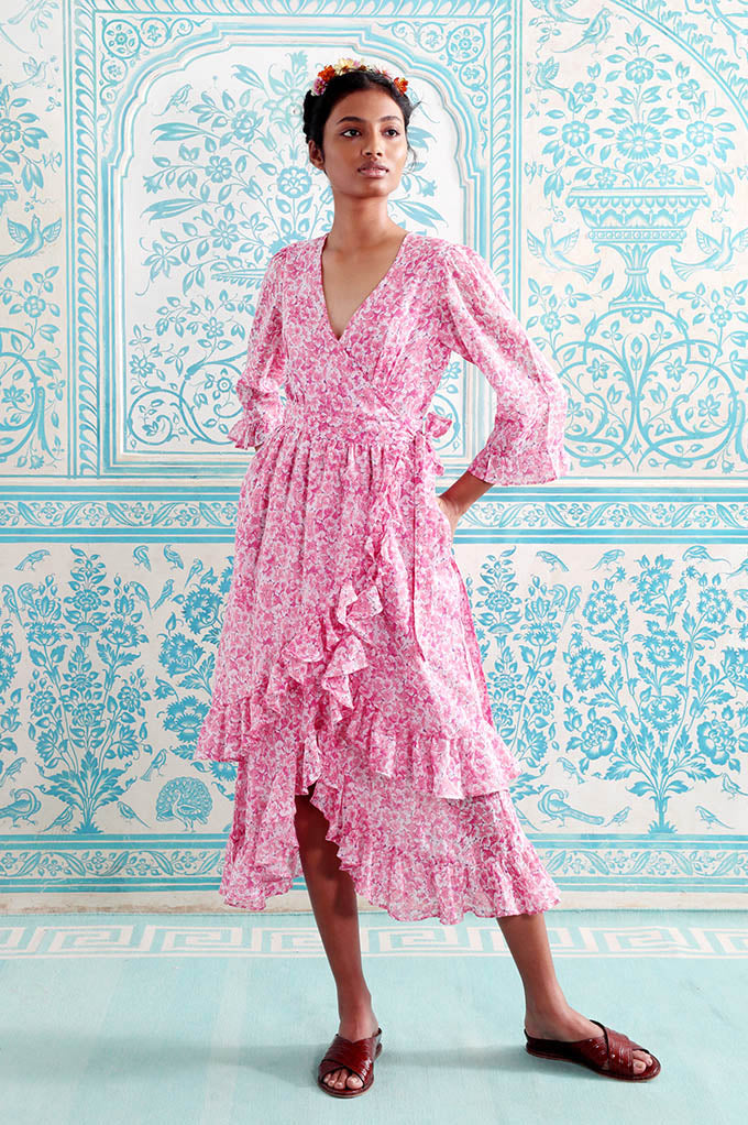 Marta Dress Clover Field White Pink