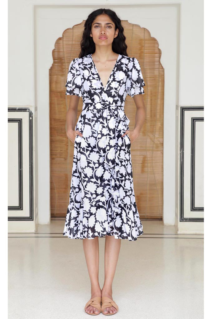 Palak Dress, Shadow Bloom Black