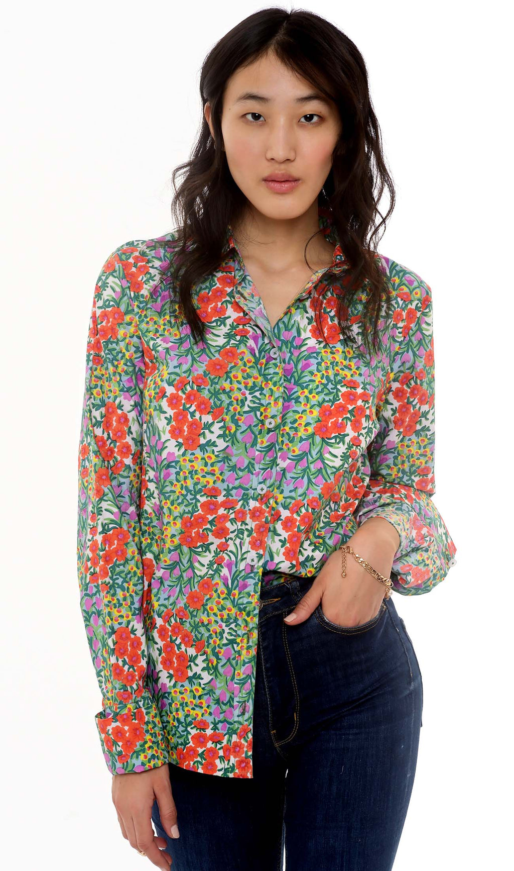 Banjanan Alfreda Shirt Cottage Garden Poppy Multi