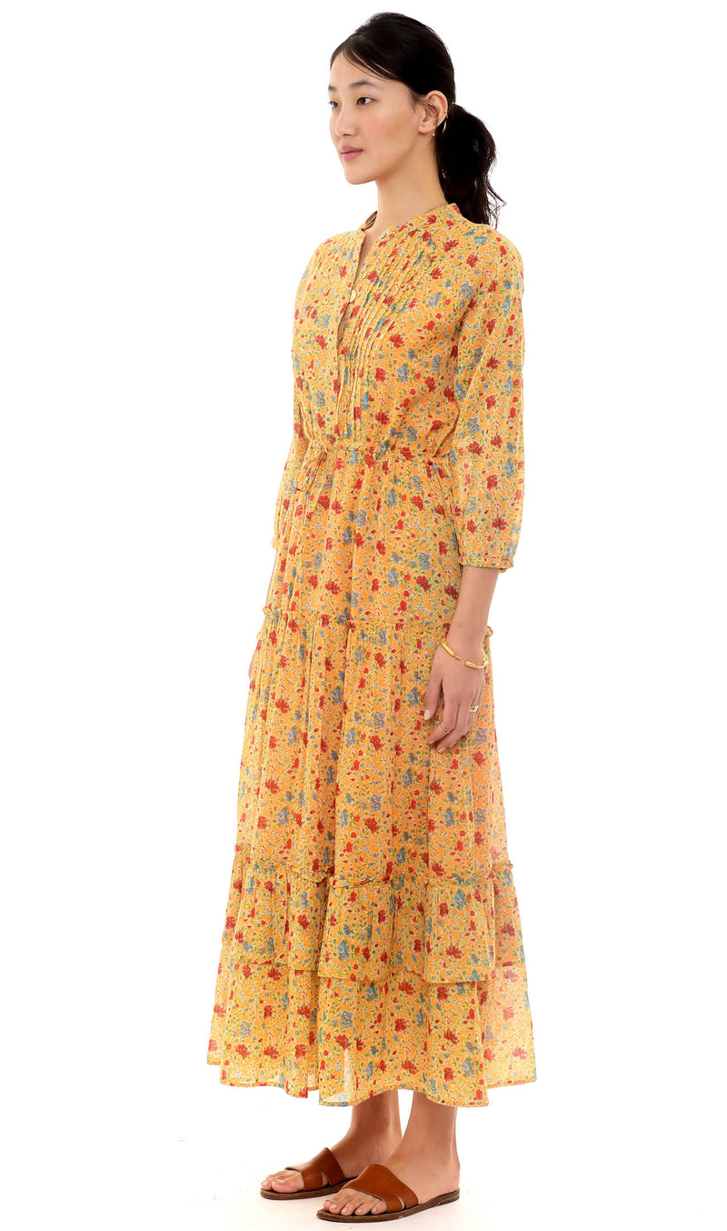 Bazaar Dress, Siesta Bright Marigold, Pure Organic Cotton Voile
