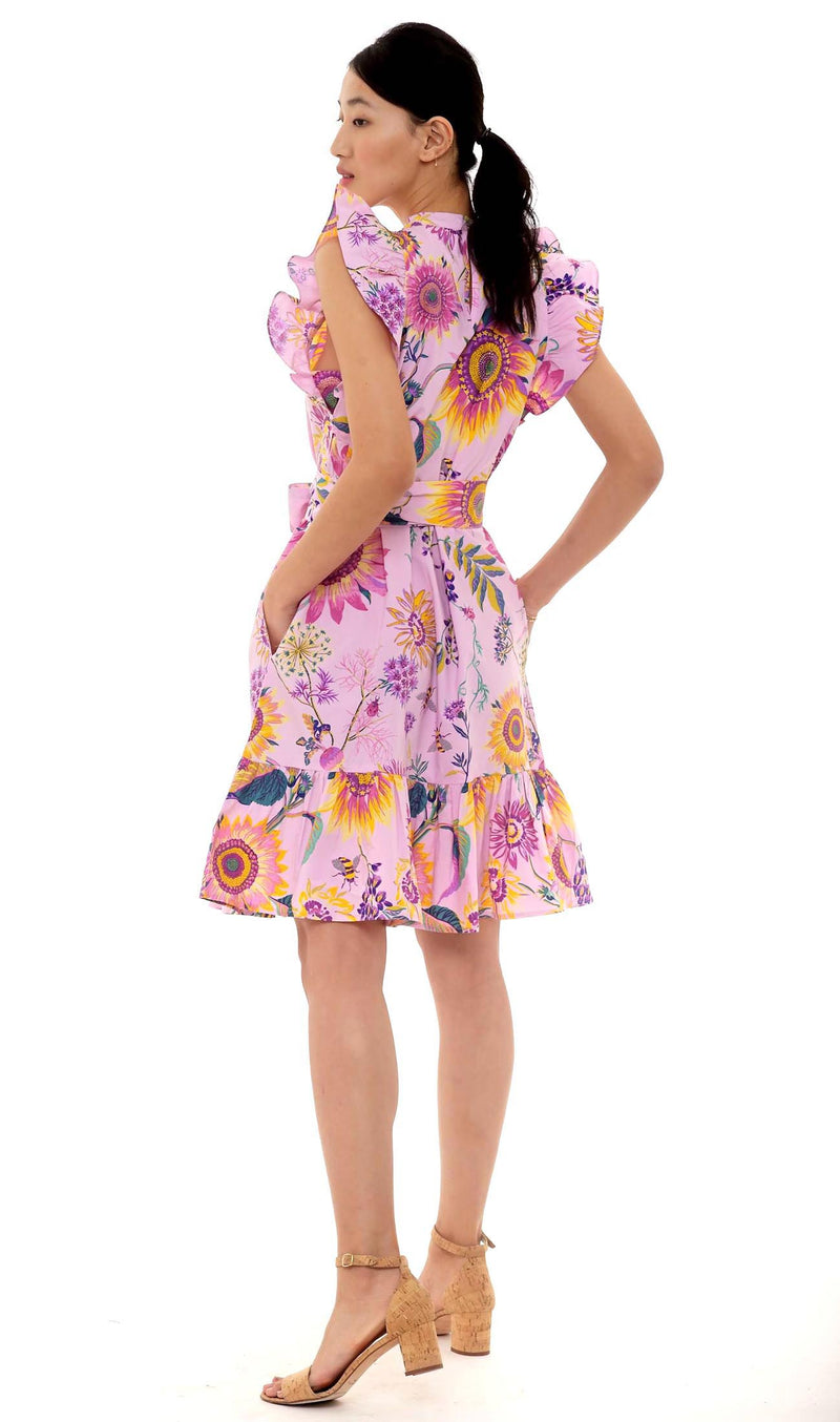 Bulbul Mini Dress, Mid-Summer Bumble Orchid, 100% Cotton poplin
