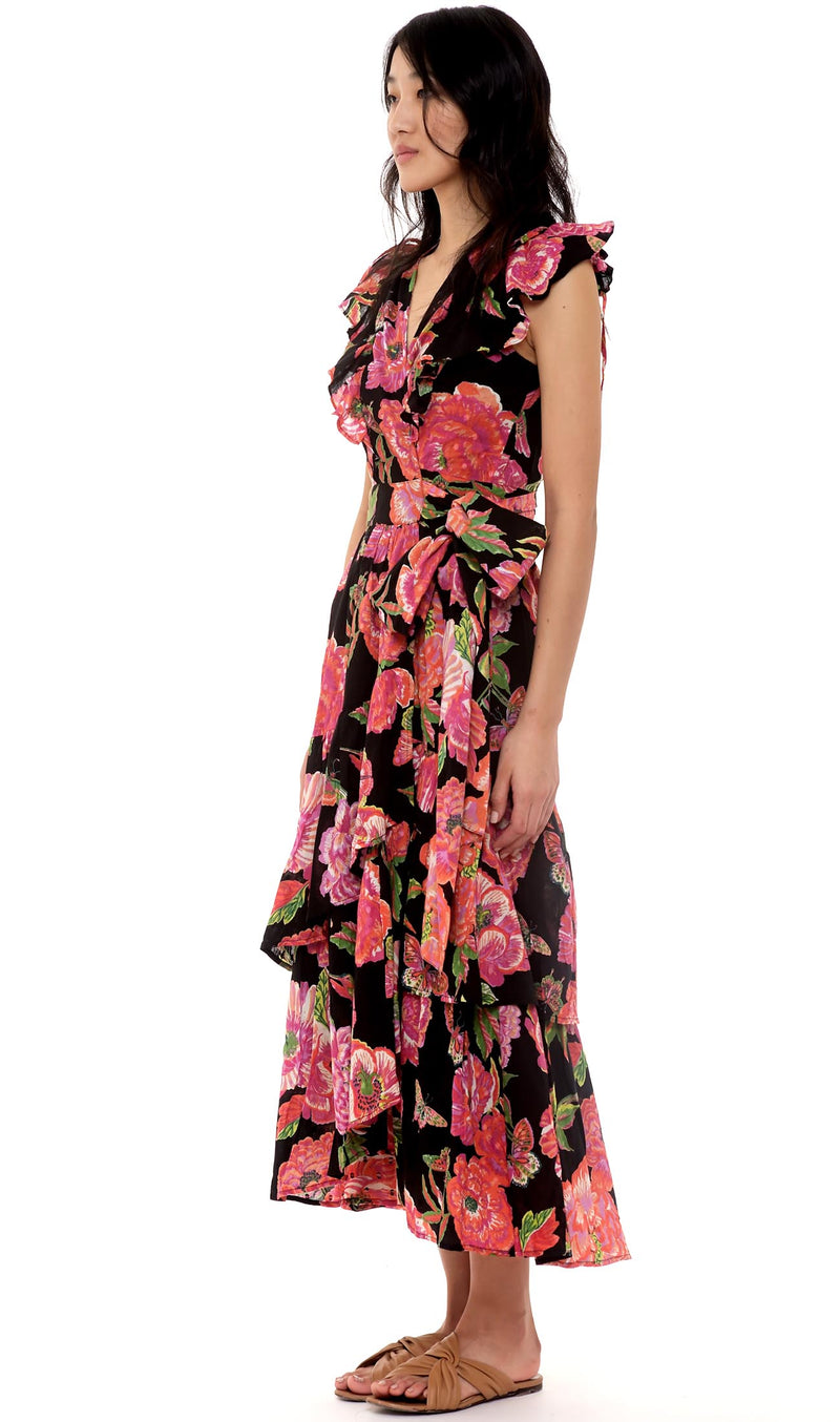 Carra Dress, Eliza's Rose Garden Black