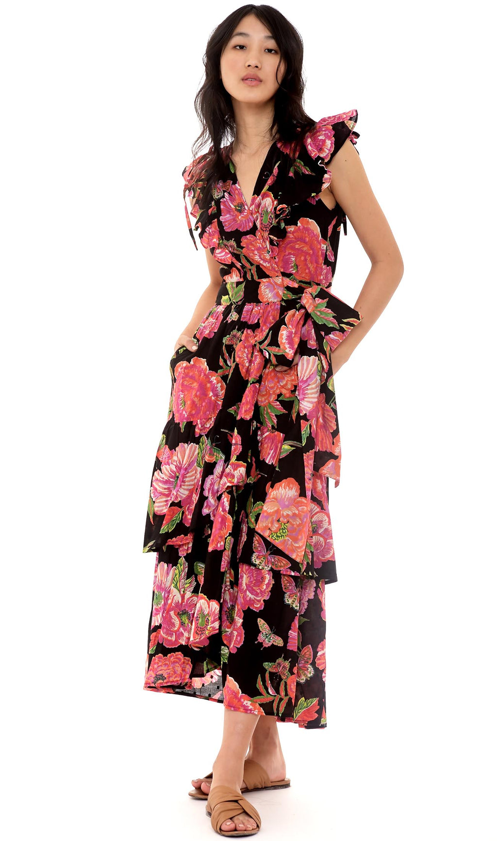 Banjanan Carra Dress Eliza's Rose Garden Black