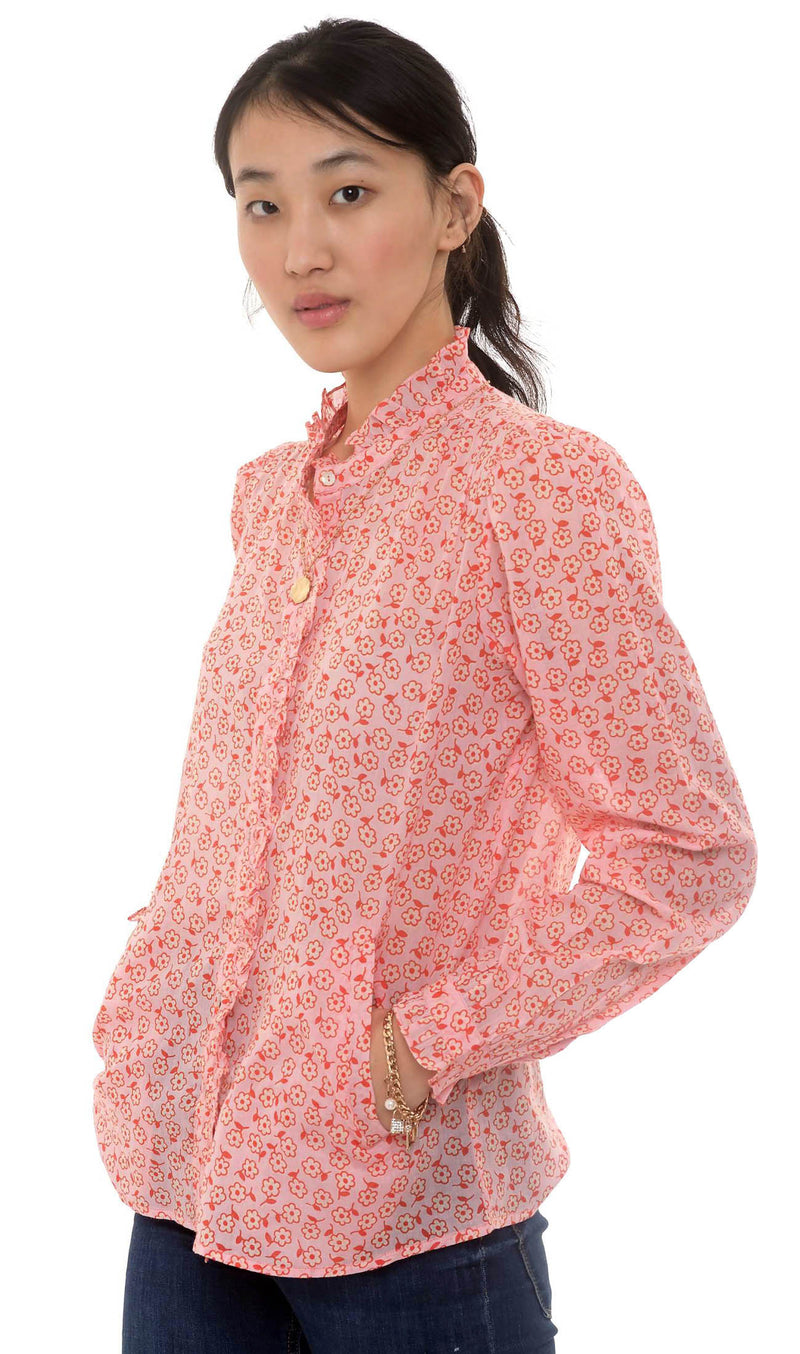 Chrissie Shirt, Scattered Daisy Orchid Pink, 100% Organic Cotton Voile