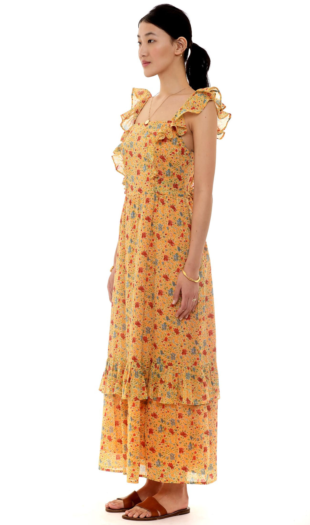Cinta Dress, Siesta Bright Marigold, 100% Organic Cotton Voile