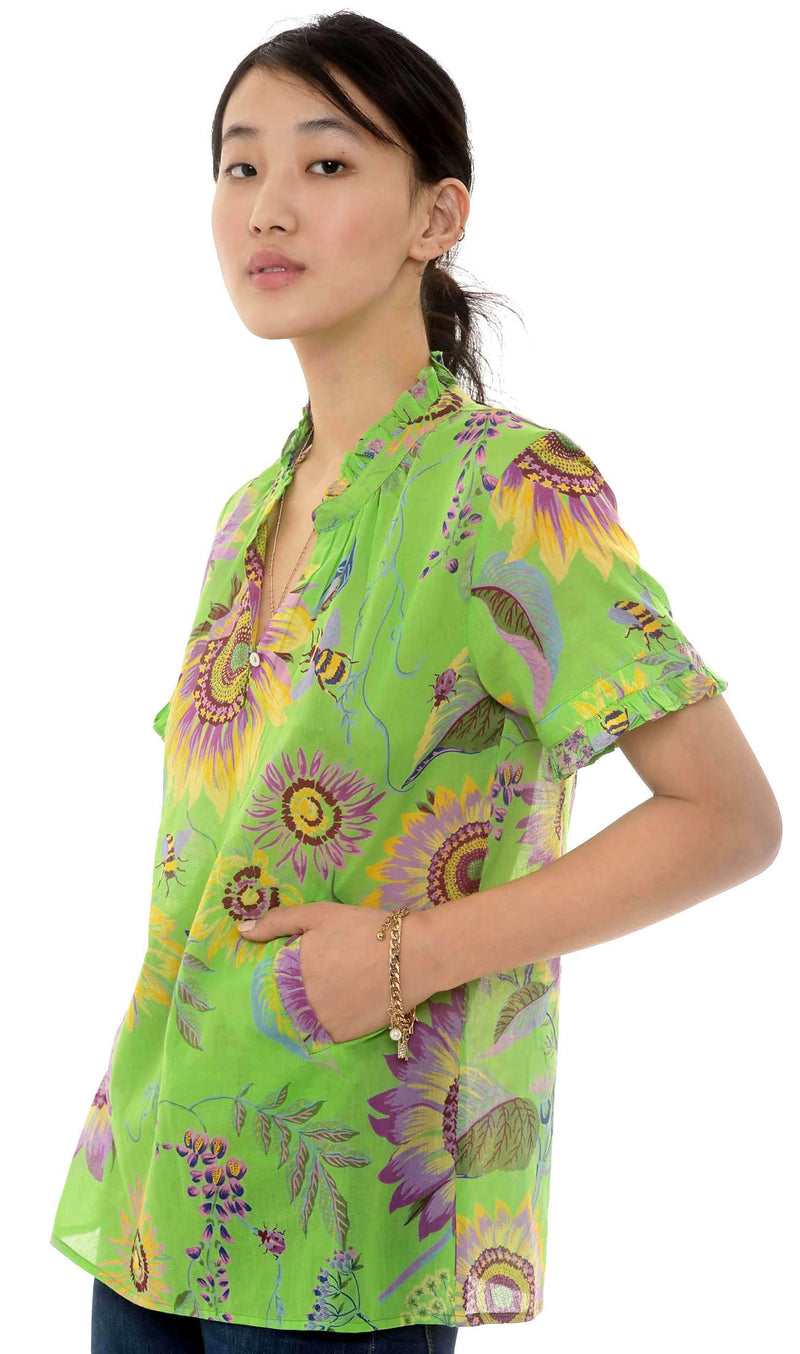 Preorder - Ebisu Top, Mid-Summer Bumble Bud Green, 100% Organic Cotton Voile