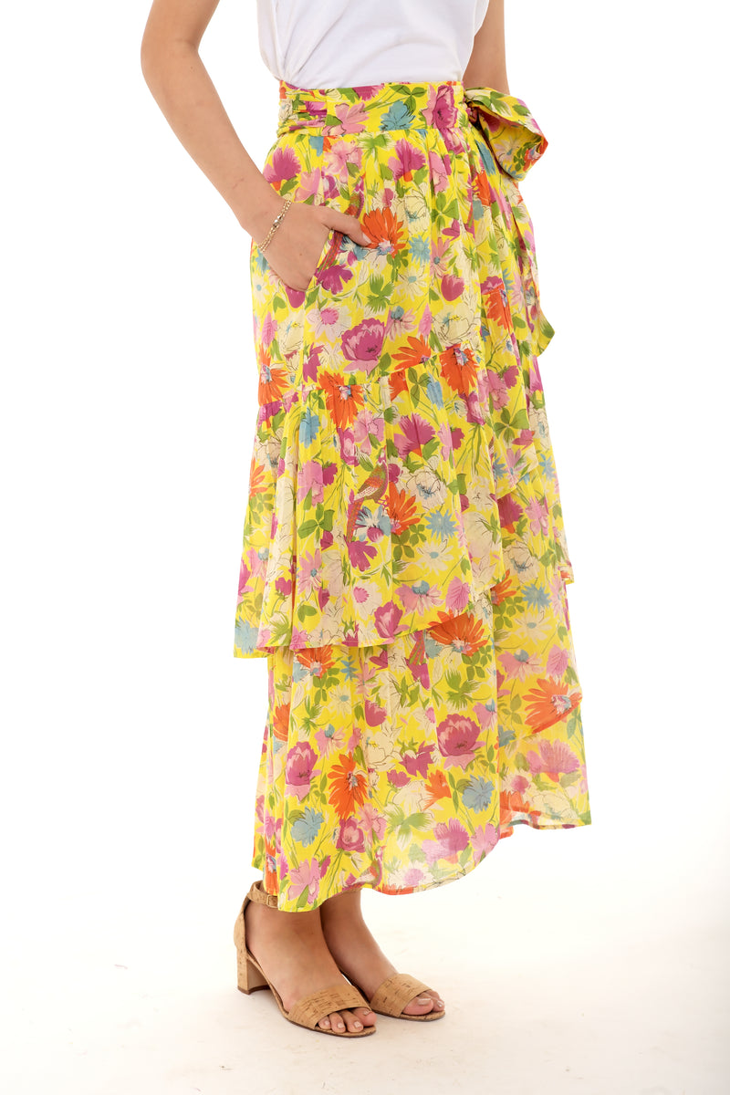 Frances Skirt, Fiesta Buttercup, 100% Organic Cotton Voile