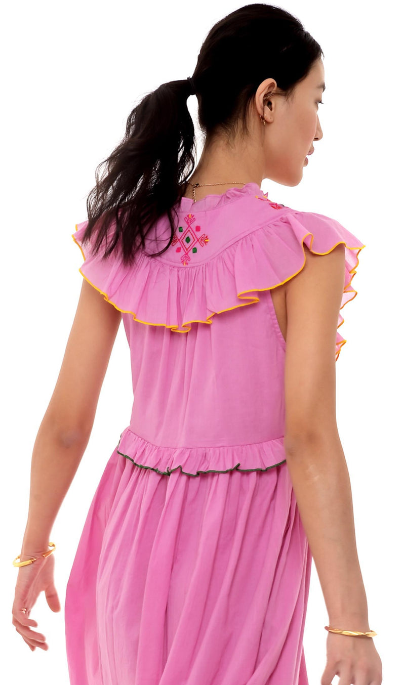 Honey Dress, Embroidered Pink, 100% Organic Cotton Voile