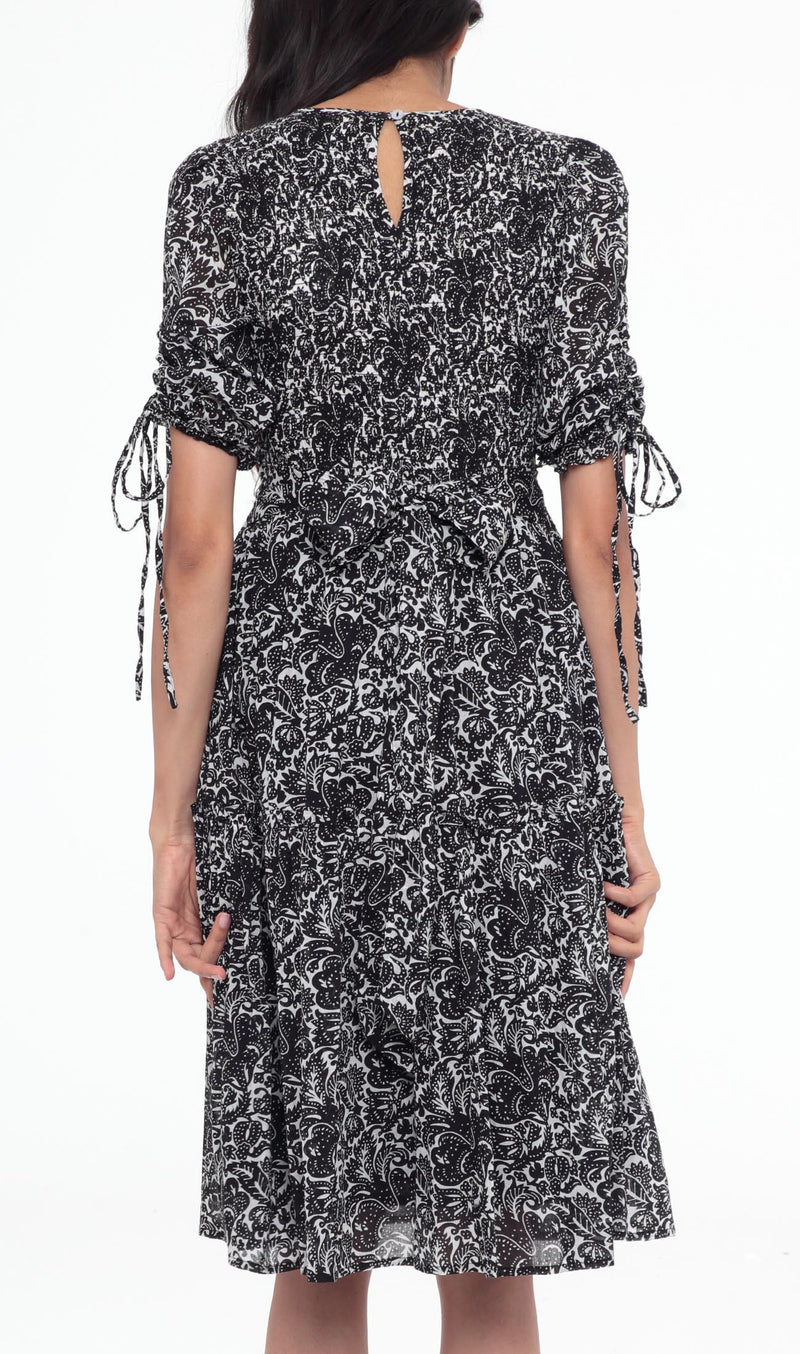 Ingrid Dress Decoupage Floral Black
