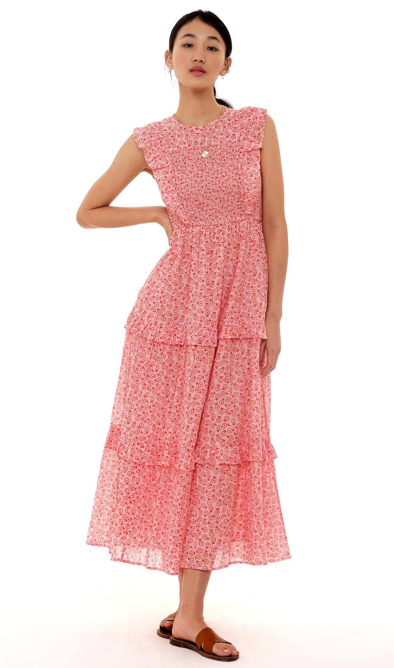 Iris Dress Scattered Daisy Orchid Pink