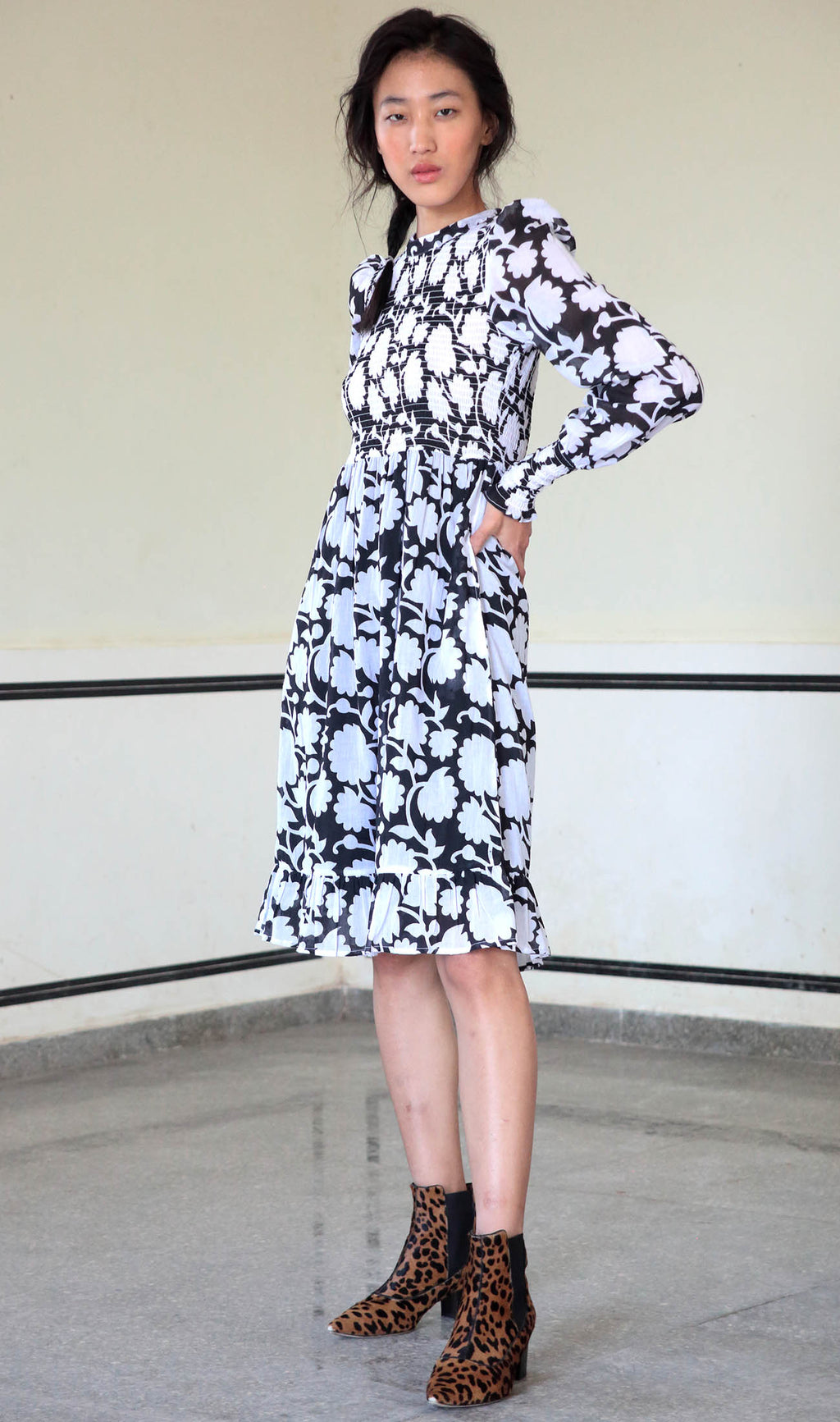 Irma Dress, Shadow Bloom Black