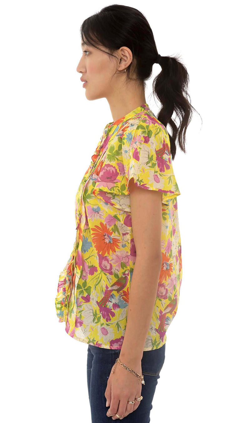 Jennifer Shirt, Fiesta Buttercup, 100% Organic cotton voile