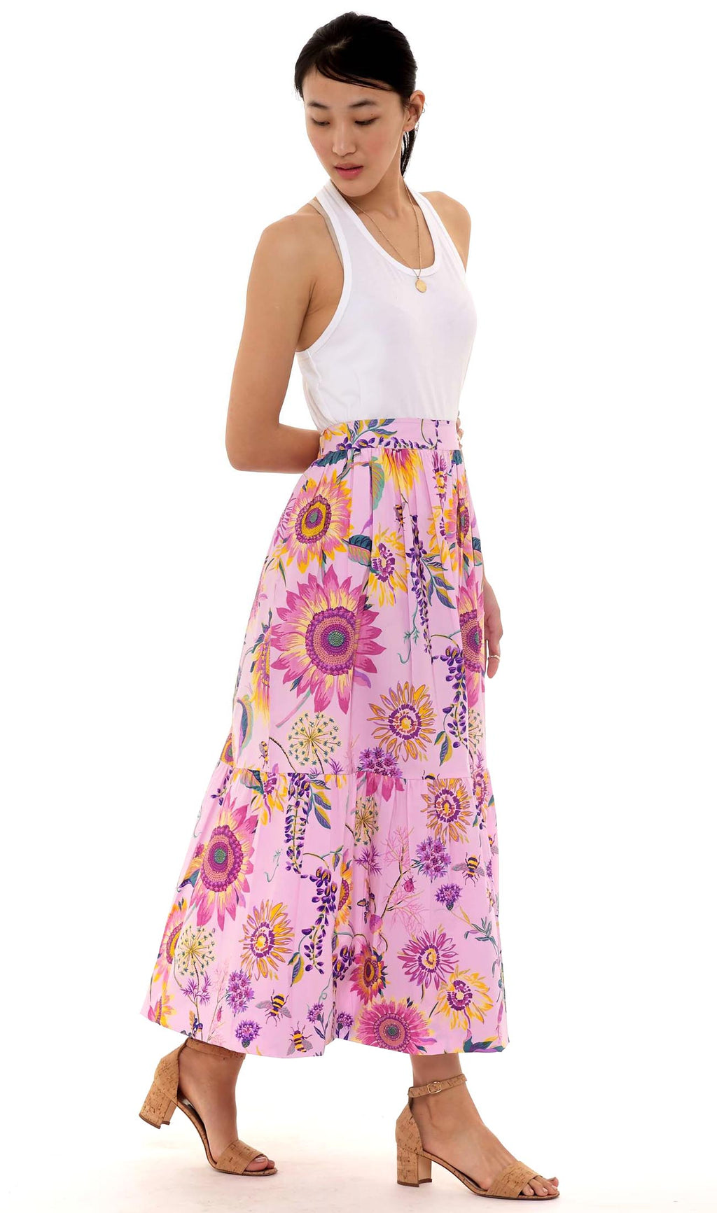 Juliette Skirt, Mid-summer Bumble Orchid Bouquet, 100% Cotton poplin