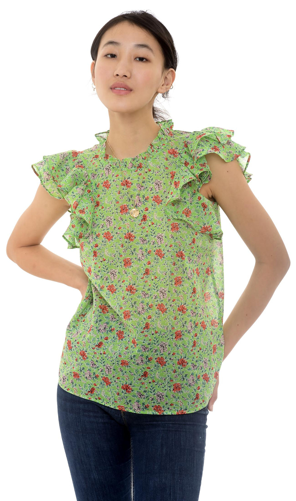 Klara Top, Siesta Bud Green, 100% Organic Cotton Voile